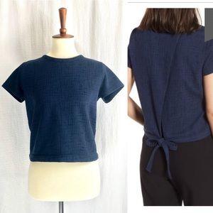 HP🌻 MADEWELL Verse Surplice Tie Back Navy Shirt